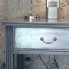 Bedside Table Timeless Grey Destressed Wax Finish Silver Leaf Draw Front Patina Draw Handle.JPG